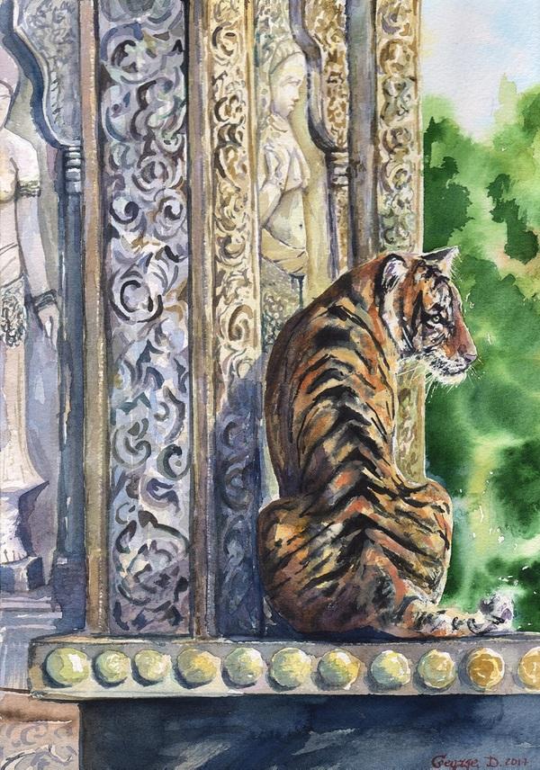 Мои акварели с большими кошками. тигр, лев, пума, пантера, акварель, длиннопост