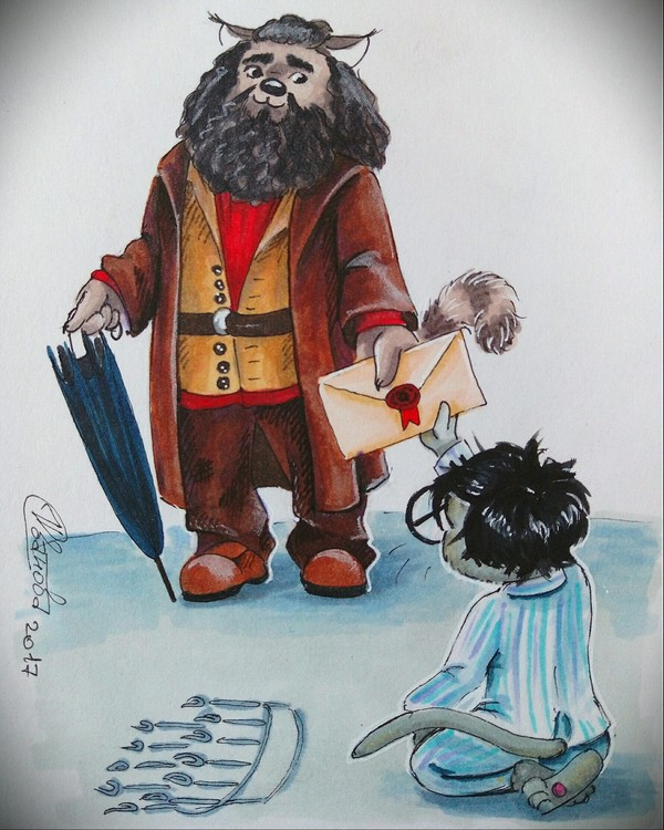 К прошедшему дню рождения великого волшебник ЮкАрт, Иллюстрации, Гарри Поттер, Хагрид, Гермиона, Рон Уизли, Поттероманы, День рождения, Длиннопост