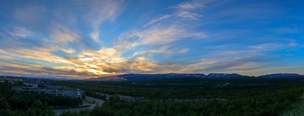 От заката до рассвета считанные минуты. Полночь в Заполярье. полярный день, закат, рассвет, Апатиты, панорама, Лига фотографов
