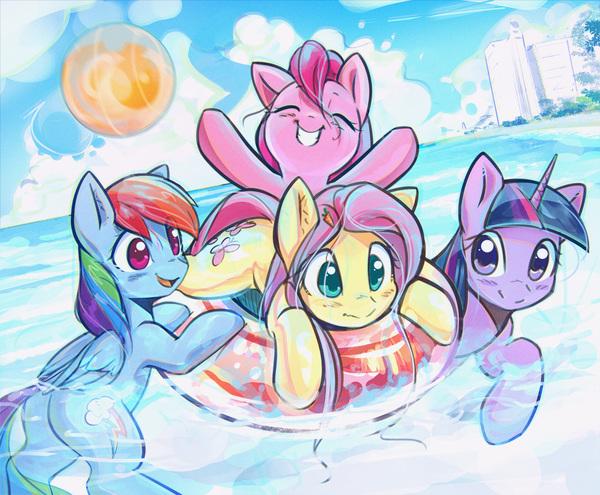 Learning to Relax My Little Pony, ponyart, Pinkie Pie, Fluttershy, Rainbow Dash, Twilight Sparkle, mirroredsea