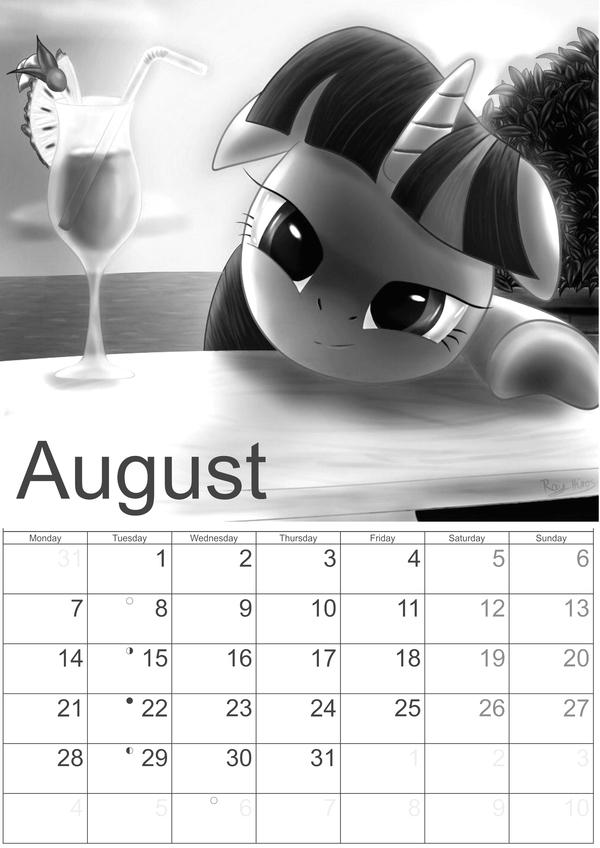 Июль Август 2017 rainbow dash, calendar, twilight sparkle, my little pony, длиннопост