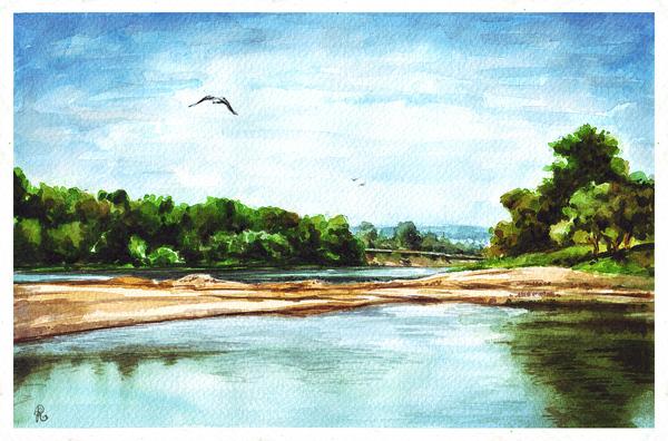Река Сим акварелью акварель, Природа, Река, рисунок, пейзаж