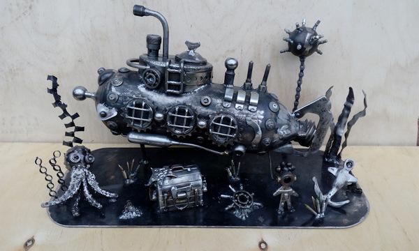 """Интерьерная композиция """"На морском дне"""".Ресайкл арт море, океан, водолаз, рукоделие с процессом, осьминог, пираты, Корабль, глубина, видео, длиннопост"""