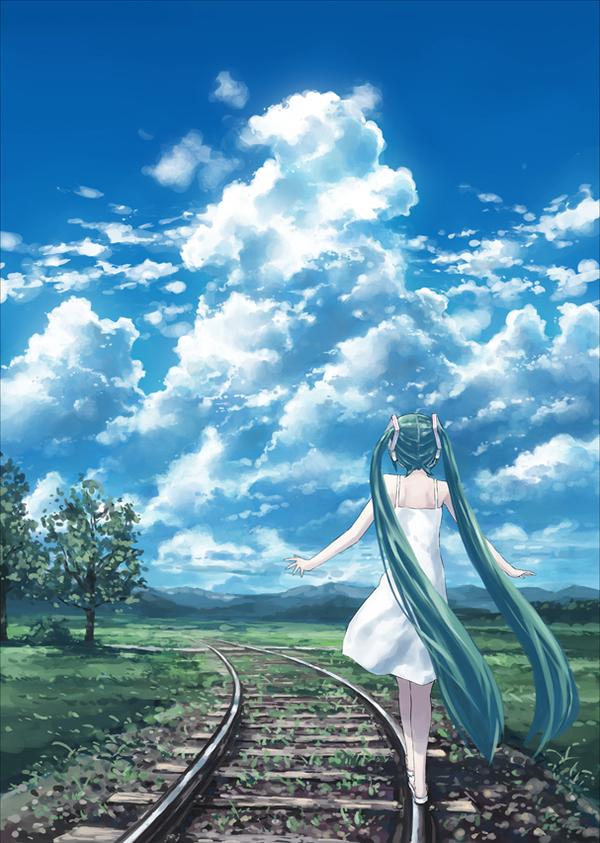 Ты где-то между там и здесь. И я не знаю,кто твой бог... Anime Art, аниме, Hatsune Miku, vocaloid
