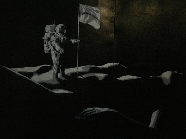Покоряйте космос граффити, Москва, космос, космонавт, девушки