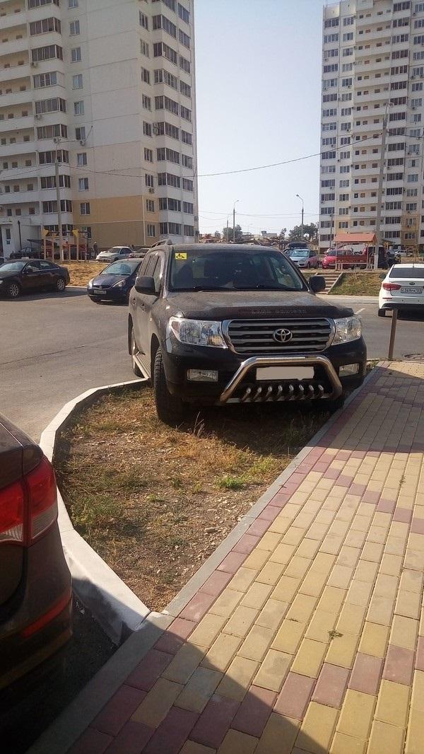 Очередной инвалид инвалид, на газоне, фотография, парковка, Газон