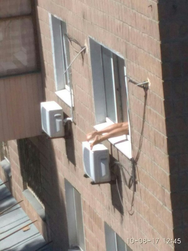 Загорает или это гостинка и ноги в квартиру не поместились загар, окно, солнце, длиннопост