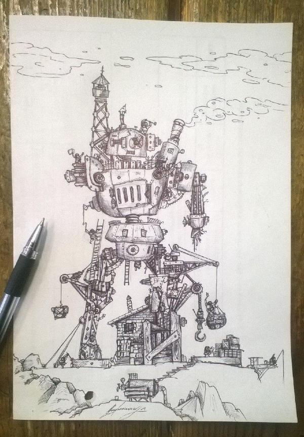 Ремонтная артель Гномы, Робот, рисунок, рисунок ручкой, моё, nif220