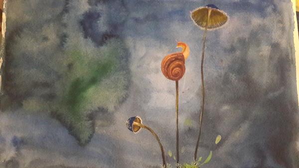 Улитка...Уля Улитка, акварель, грибы, сказка, картина, копия