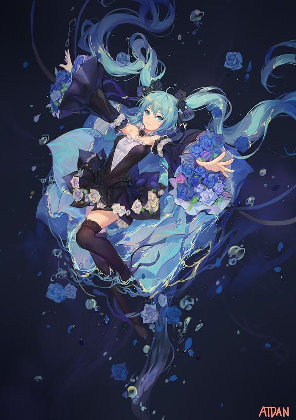 Синева vocaloid, Hatsune Miku, аниме, Anime Art