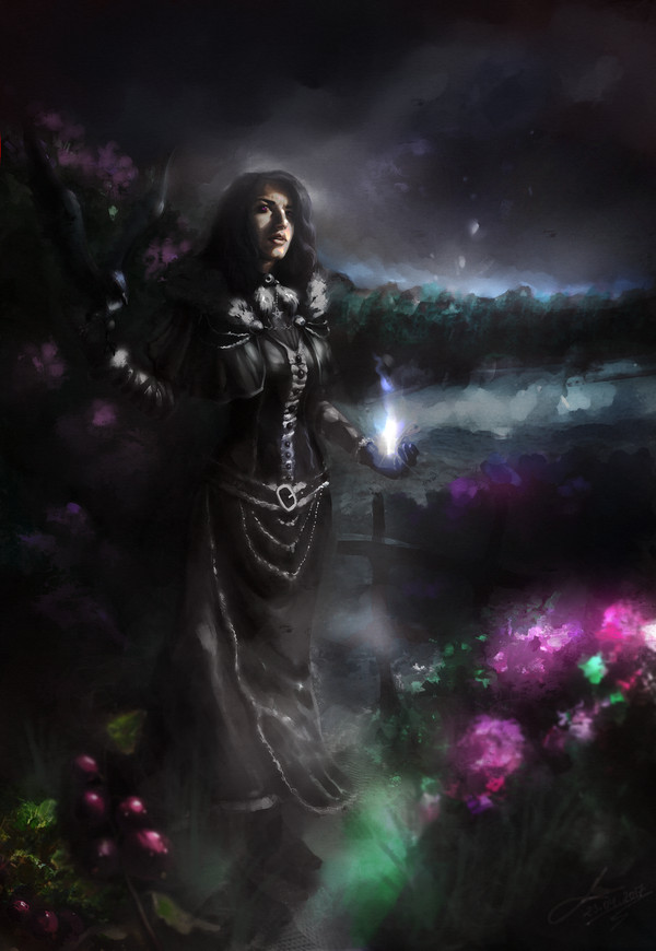 Yennefer. Lilac and gooseberry by Lotsmanoff арт, Ведьмак, ведьмак 3, Йеннифер