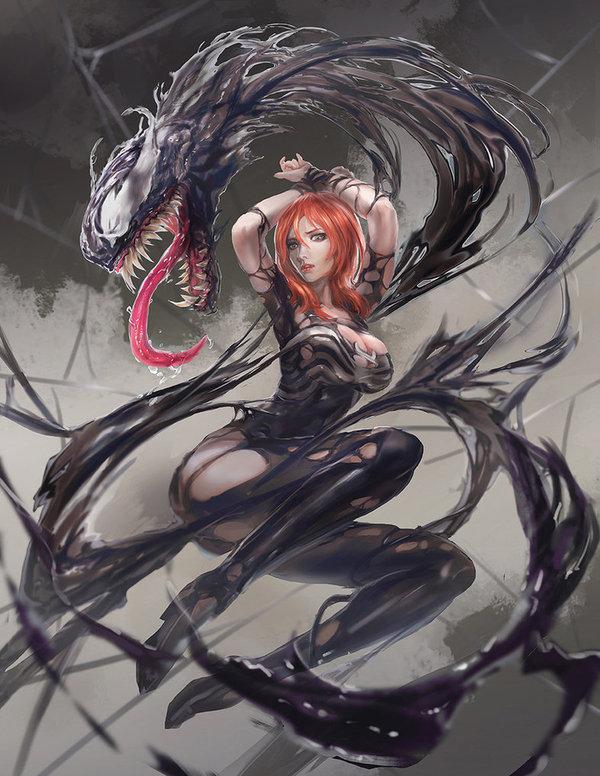 Venom Mary Jane DeviantArt, Арт, Рисунок, Комиксы, Marvel, Человек-паук, Мери Джейн, Веном