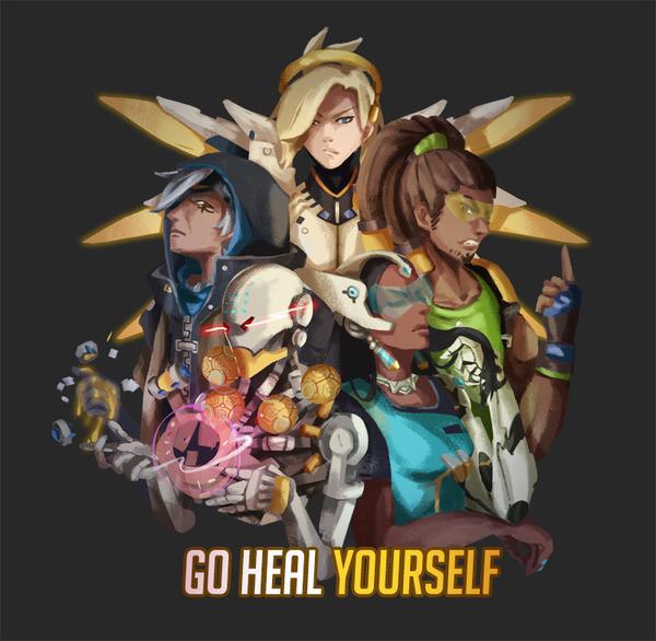 Иди лечи себя сам... blizzard, арт, overwatch, Mercy, Lucio, Ana Amari, symmetra, zenyatta