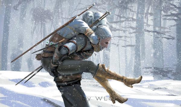 Father DeviantArt, Арт, Рисунок, Игры, The Witcher 3:Wild Hunt, Геральт из Ривии, Цири, Ведьмак