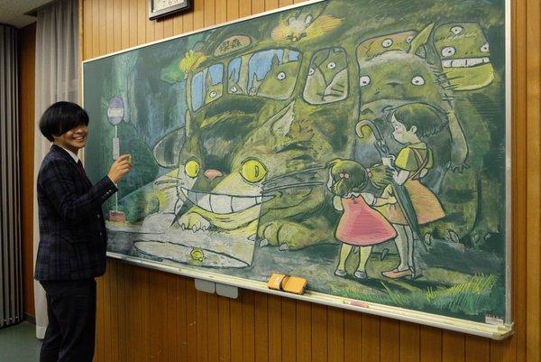 Рисунки мелом на доске или История про одного учителя из Нары япония, Учитель, рисунок, длиннопост