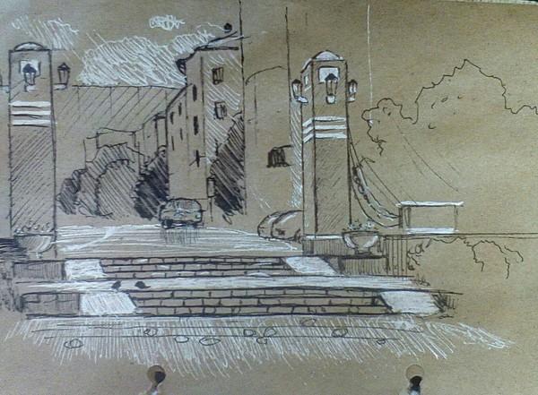 Прогулка с блокнотом набросок, скетч, рисунок, графика, Североморск, рисунок ручкой, пейзаж, длиннопост