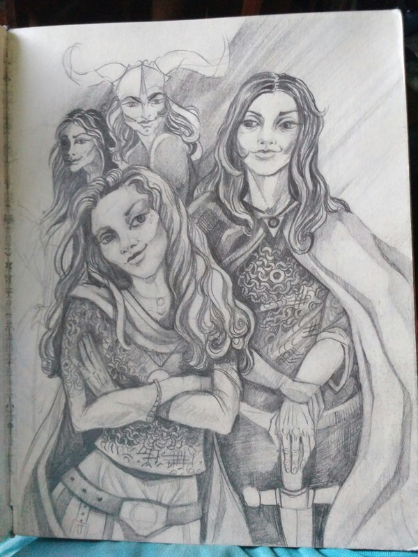 Писала когда то рассказ, о себе с подругой на тему средневековья, и начеркала эскиз к иллюстрации данного рассказа. (Справа я)