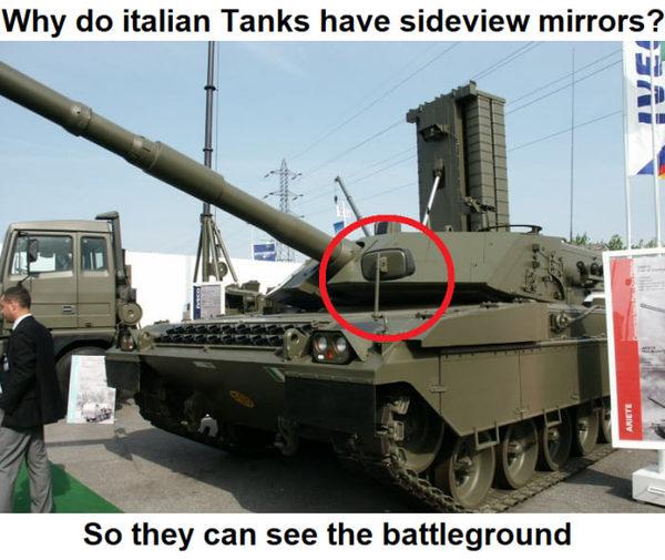 Зачем на итальянских танках боковые зеркала? 9gag, Италия, шутки про итальянцев