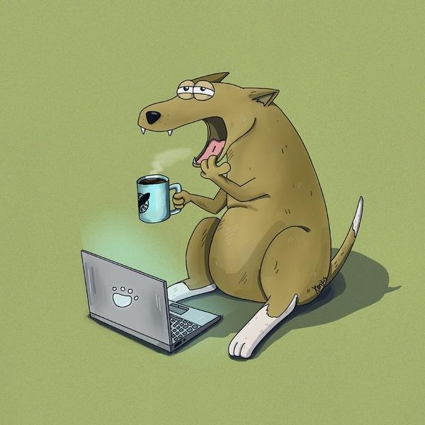 Трудовые будни моё, утро, персонаж, иллюстрации, Собака, трудовые будни