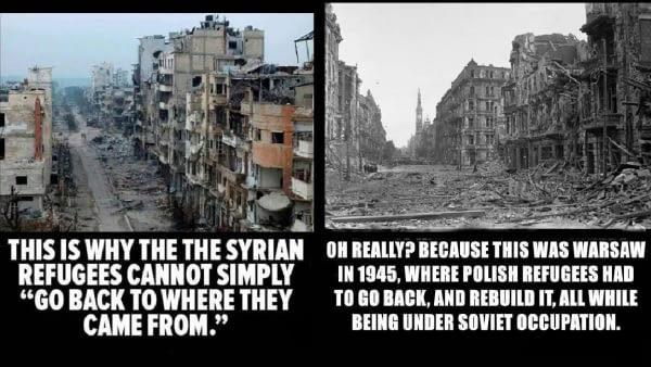 На 9gag.com есть правильно мыслящие люди Сирия, Польша, Варшава, беженцы, оккупация, СССР, Руины