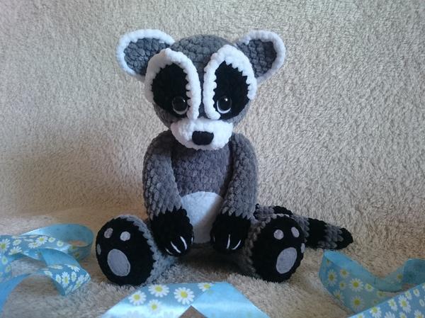 Мой плюшевый енот вязание, длиннопост, ручная работа, handmade, творчество, вязанные игрушки ручной работы, плюшевые игрушки, енот