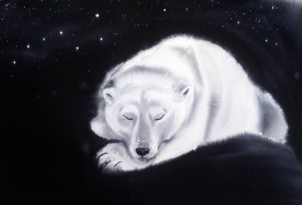 Спят твои соседи - белые медведи, спи и ты... акварель, белый медведь, сон