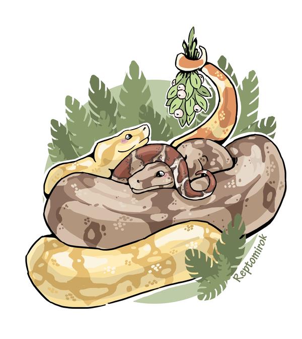Влюблённая пара удавов + процесс создания рисунок, змея, моё, видео