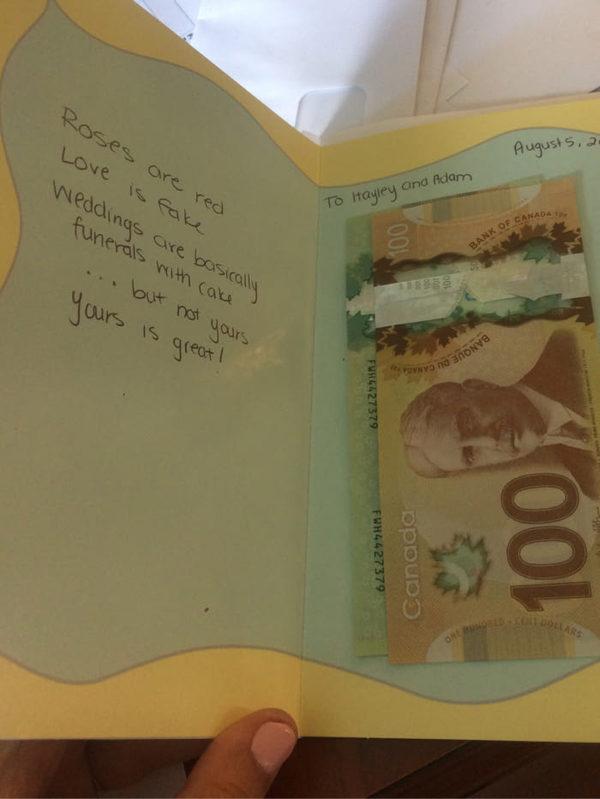 Подозреваю, что последние две строчки дарителя заставили дописать ) открытка, свадьба, поздравление, похороны, Канада