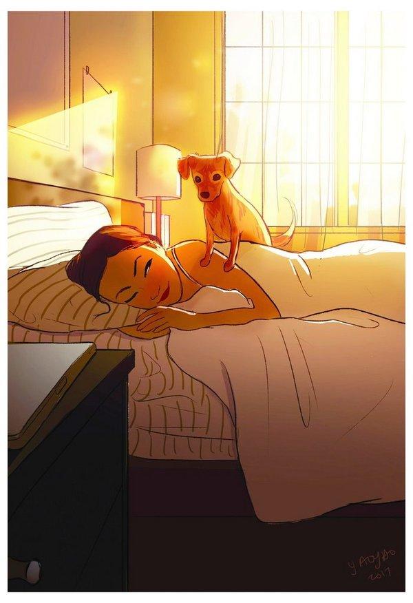 Сладость жизни в одиночестве. (Длиннопост) Одиночество, девушки, Собака, жизнь, арт, длиннопост