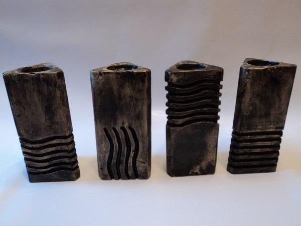 Когда после ремонта остался мешок гипса и не знаешь куда его деть))) гипс, подсвечник, камень, пятый элемент, своими руками, длиннопост