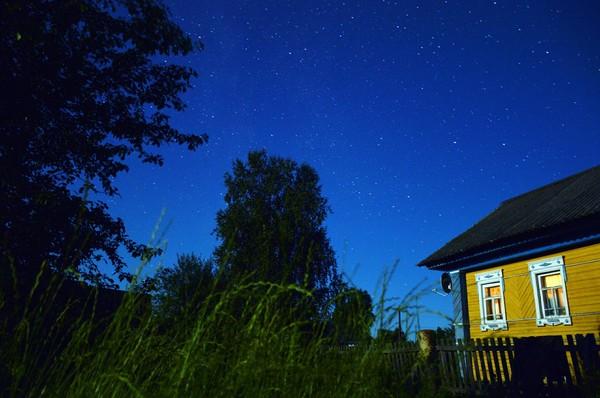 Небо не спит ночь, звёзды, деревня, дом, Небо, созвездия