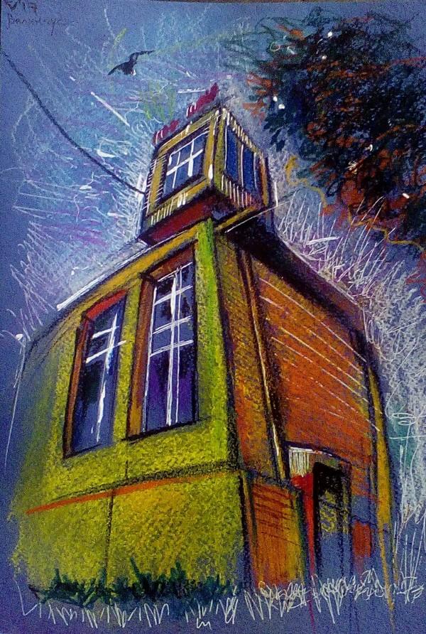 Рисунок Североморск, графика, рисунок, пастель, пейзаж, рисунок карандашом