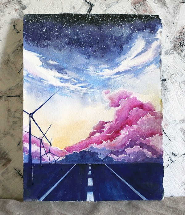 Дорога в небеса Живопись, арт, дорога, пейзаж, облака, Небо, акварель