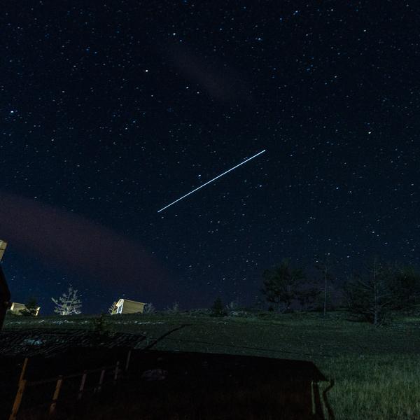 МКС на небе МКС, Спутник, Небо, звёзды