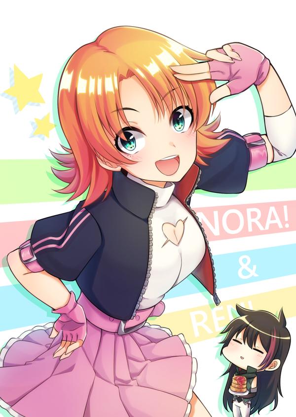 Нора и Рен RWBY, anime art, Nora Valkyrie, lie ren, аниме, не аниме