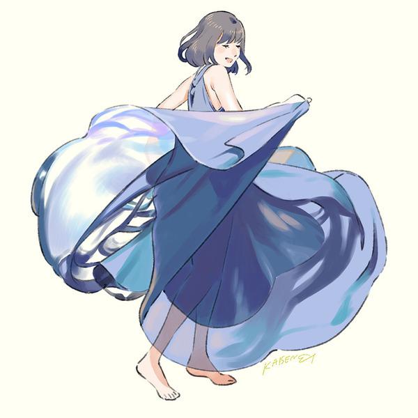 Dancing in Blue рисунок, anime art, umishima senbon, красивая девушка, танец, платье, Голубой, длиннопост