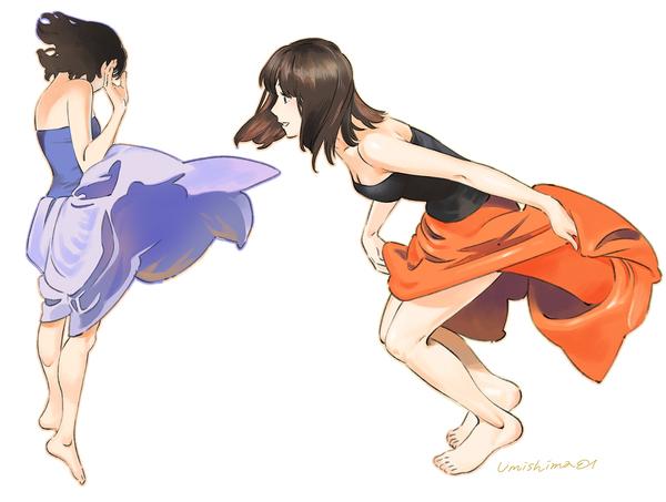 Dancing in Dress рисунок, Anime Art, umishima senbon, красивая девушка, танец, платье