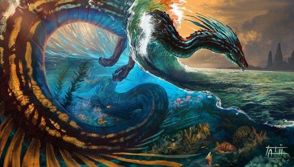 Любые волны нипочём дракон, арт, море, волна, tatiilange, фэнтези
