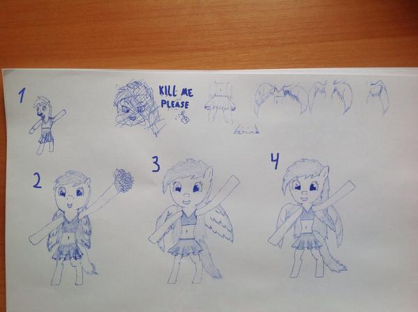 Все выкладывают свои рисунки, а я чем хуже? (не считая неумения рисовать) My little pony, Rainbow Dash, антро, рисунок, длиннопост, MLP Learning