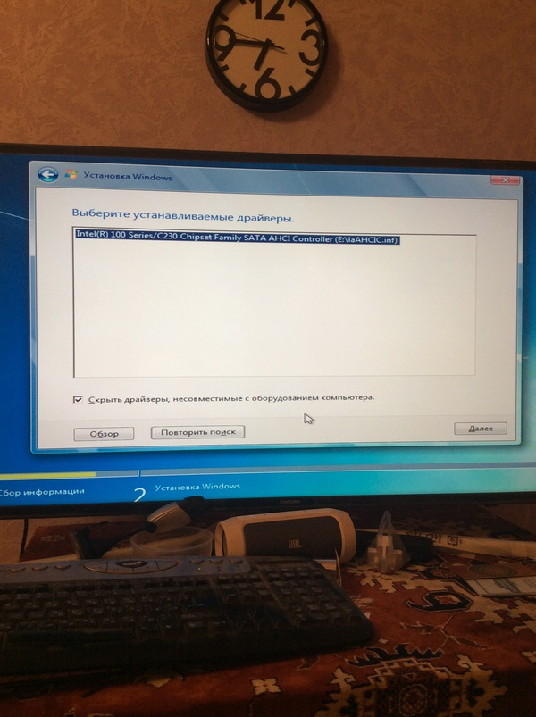 Установка win7, не видит ssd и не хочет ставить драйвер переустановка Windows, SSD, драйвер, компьютер, компьютерная помощь, длиннопост
