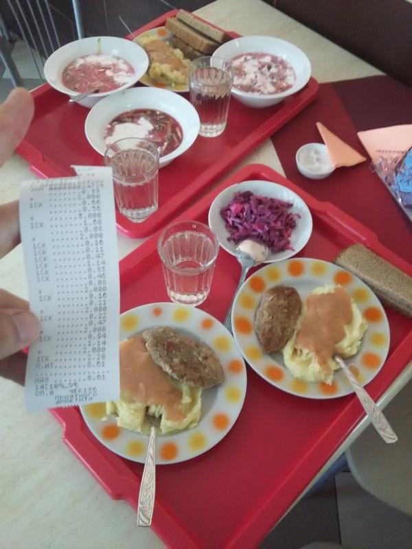 Вот так на троих покушать в столовой #19 в г. Солигорск (Беларусь)8.61 рублей. Это чуть больше 4 $ столовая, еда, покушать, есть, дешево, дешево и сердито