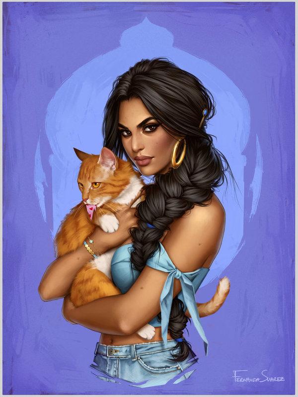 Jasmine DeviantArt, Арт, рисунок, девушки, мультфильм, Алладин мультфильм