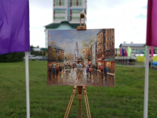Картины, мольберт, день города. белокуриха, день города, фотография, картина