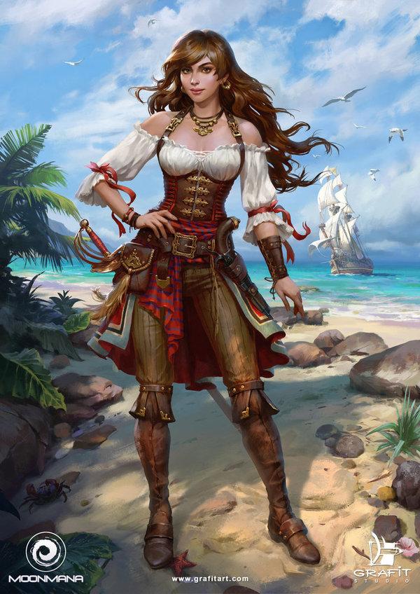 Pirate Girl DeviantArt, Арт, рисунок, девушки, Игры