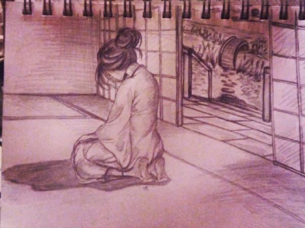 Пробовала фон нарисовать. Беда. красивая девушка, япония, рисунок, карандаш, скетч, скетчбук, начинающий художник