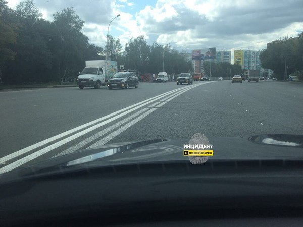 Инновация от дорожников - Четверная сплошная Новосибирск, сплошная, дорога