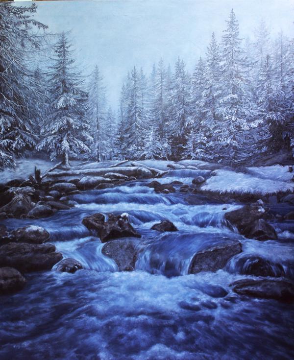 Горная река картина маслом, картина, зима, пейзаж, Снег, длиннопост