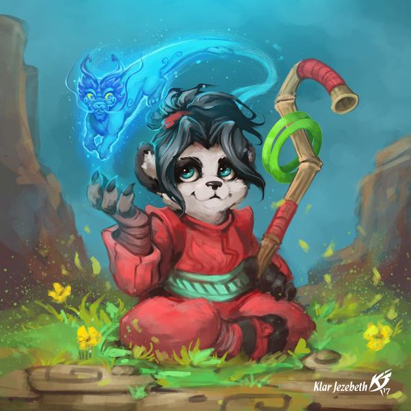 Пандочка фурри, арт, панда, warcraft, дракон, Klar jezebeth