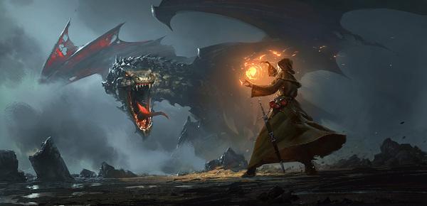 Dragon Cave арт, дракон, маг