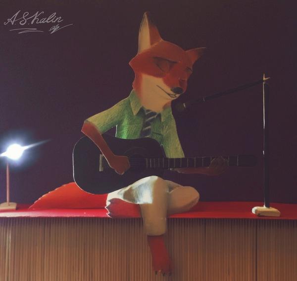 Ник Уайлд гитарист. zootopia, зверополис, Nick Wilde, арт, гитара